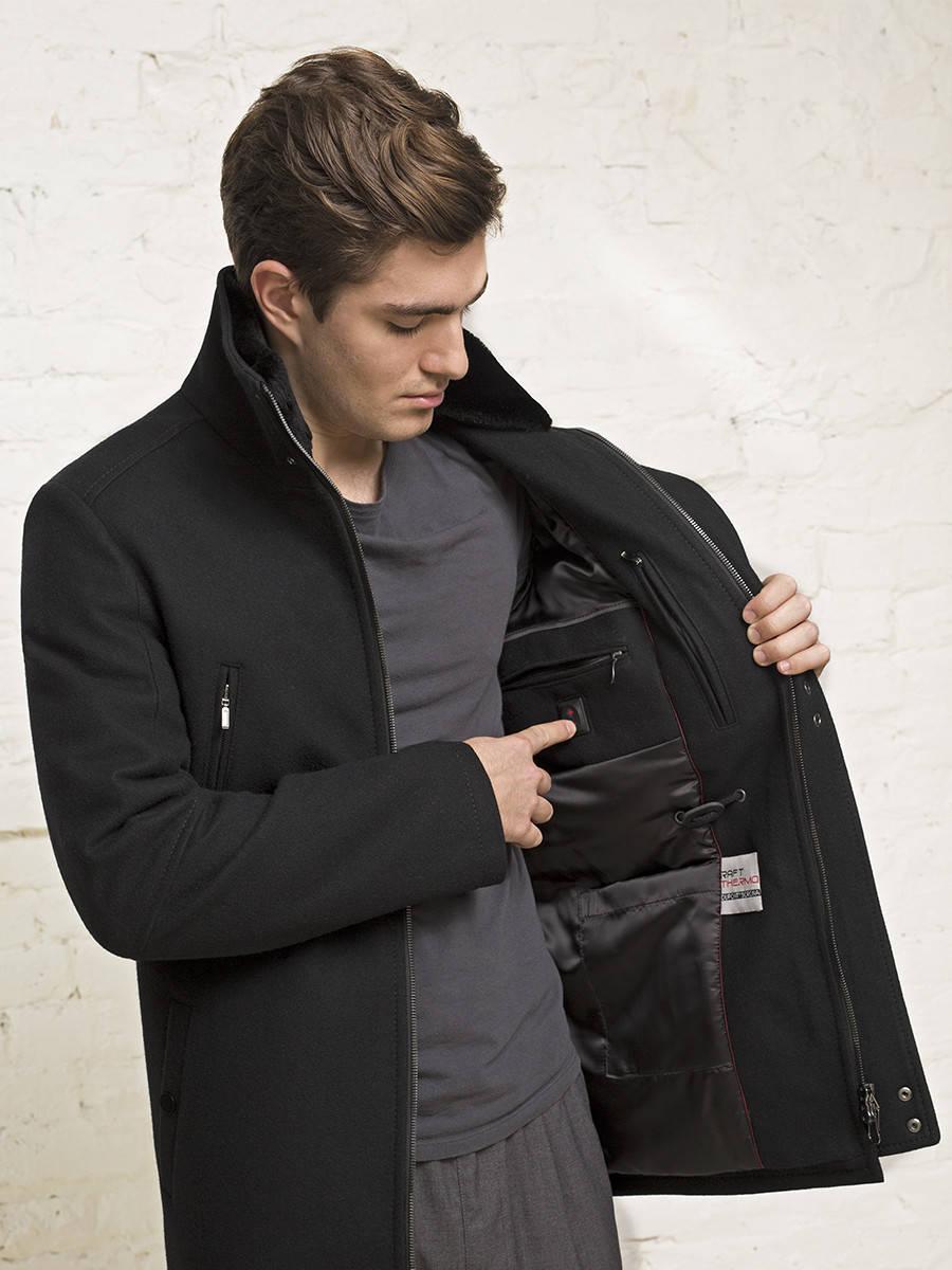 Пальто мужское утепленное с подогревом<br><br>Артикул: 1700040S80199<br>Цвет: черный<br>Материал: : Основная ткань: шерсть 80 %, полиамид 20 %;<br>Размер RU: 50<br>Пол: Мужской<br>Возраст: Взрослый
